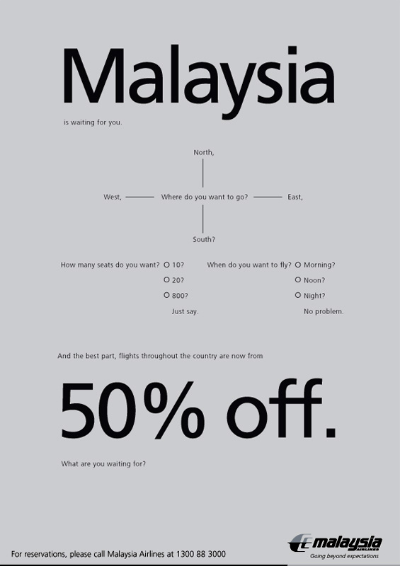 Malaysia Airlines cheap travel fare campaign