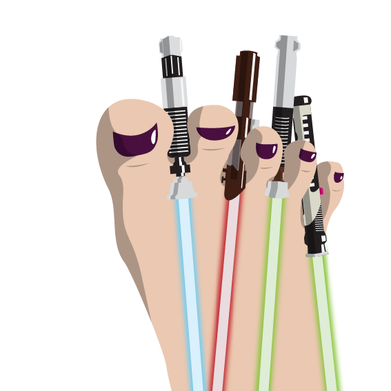 Toe Sabers. Star Wars at its best. Light Sabers.